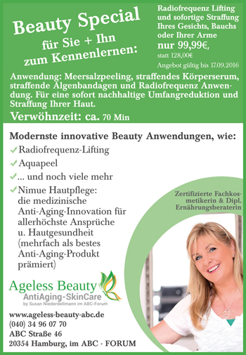 Ageless Beauty Alstermagazin Aktionsangebot Radiofrequenz-Lifting  August 2016